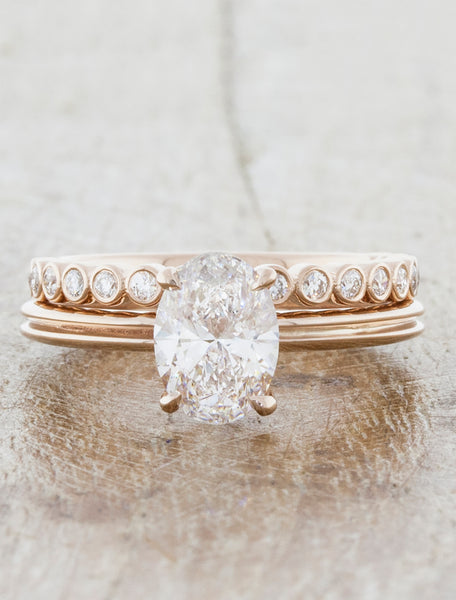 unique oval diamond engagement ring, double rose gold band caption:0.95ct. Oval Diamond 14k Rose Gold paired with Cara wedding band