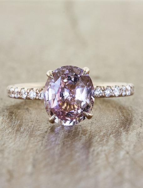 pink sapphire engagement ring with rose gold pave band;caption:1.50ct.  Oval Sapphire 14k Rose Gold