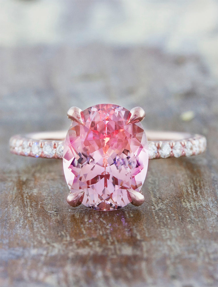 Oval Pink Sapphire Engagement Ring