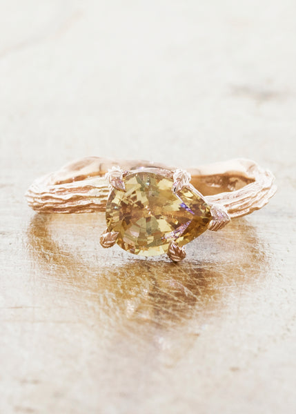Nature inspired solitaire engagement ring caption:1.50ct. Pear Sapphire 14k Rose Gold