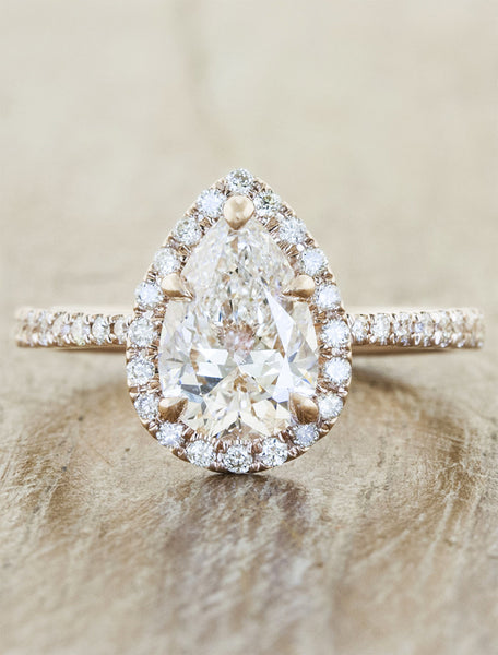 Verity halo engagement ring pear caption:1.25ct. Pear Diamond 14k Rose Gold