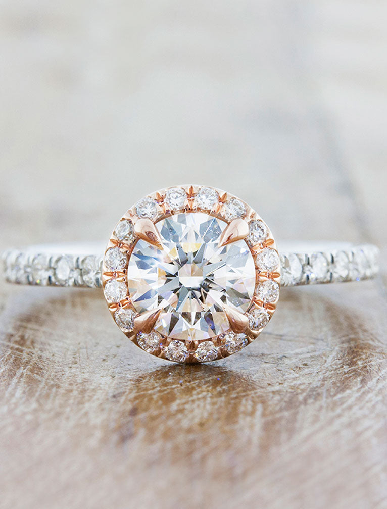 Maive Round Diamond Halo Engagement Ring in Rose Gold Ken Dana