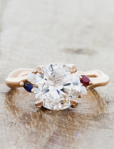 Nature inspired engagement ring;caption:1.75ct. Round Diamond 14k Rose Gold