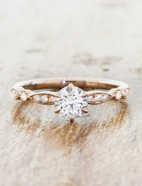 round diamond in a vintage-inspired, encrusted diamond band