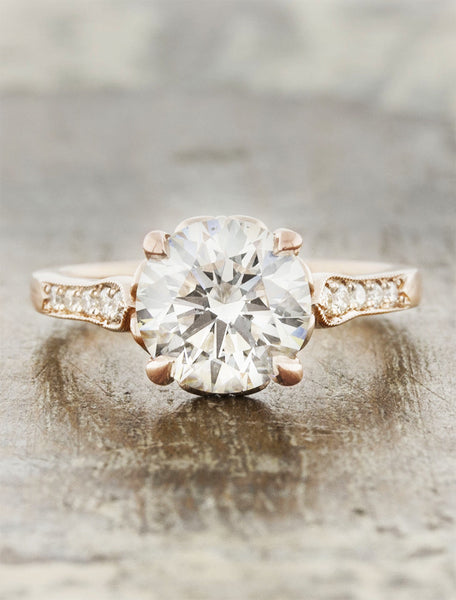 Vintage inspired designs;caption:2.50ct. Round Diamond 14k Rose Gold