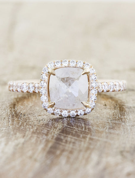 Rough pink diamond halo engagement ring