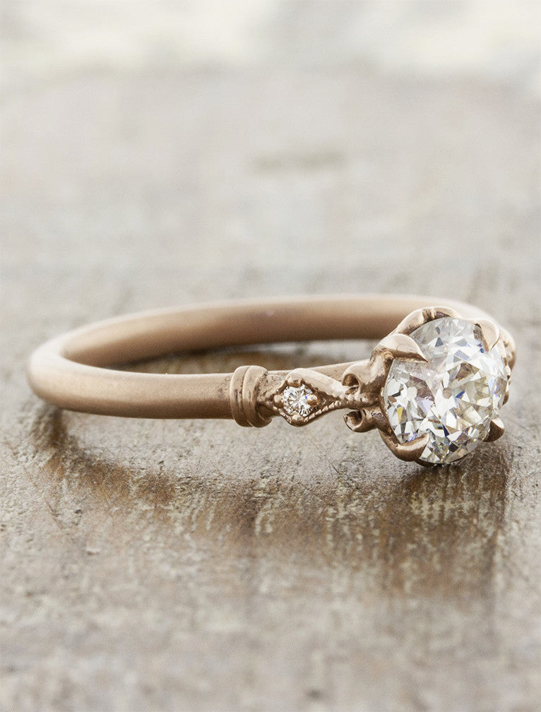 vintage inspired european cut diamond ring