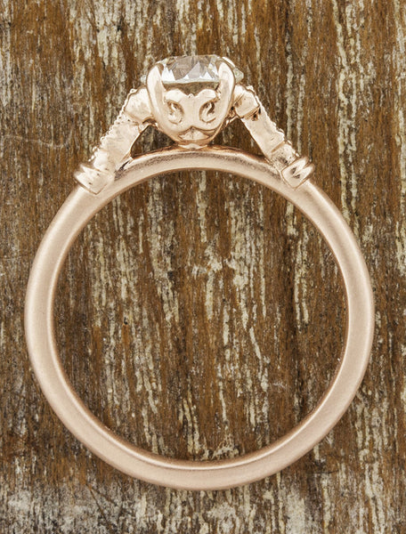 antique inspired rose gold engagement ring