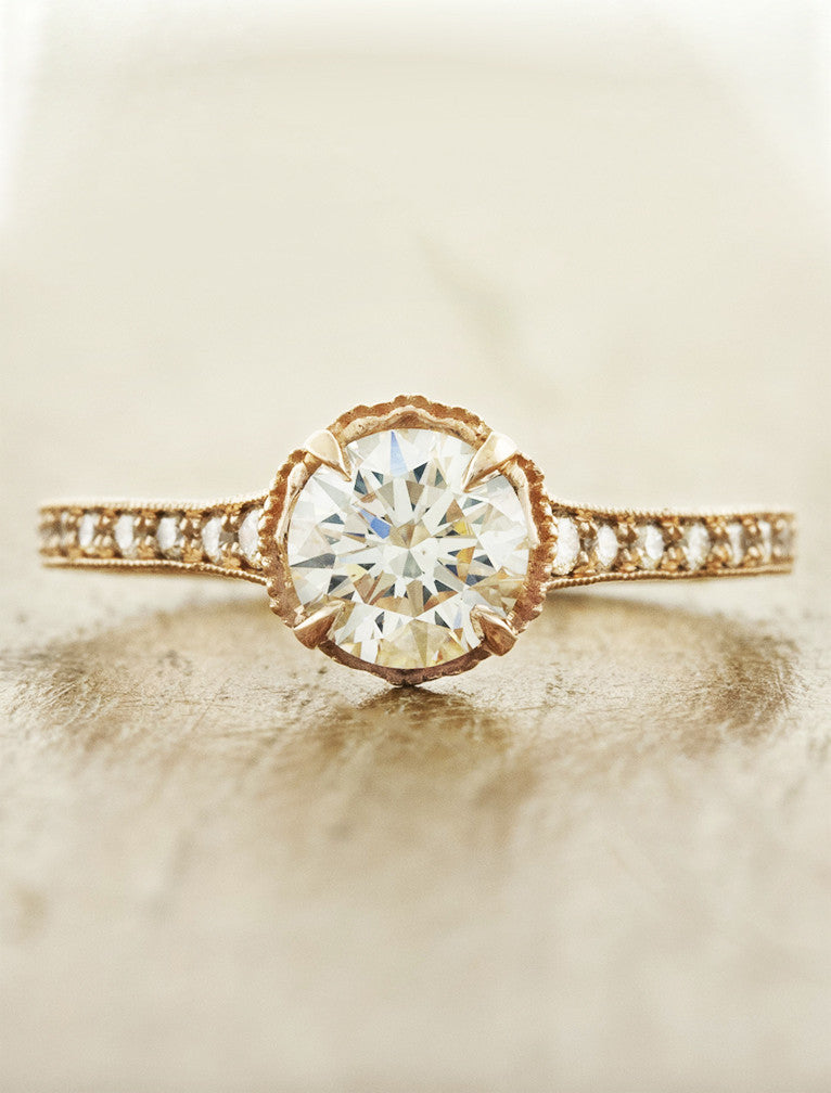 Vintage inspired;caption:0.75ct. Round Diamond 14k Rose Gold