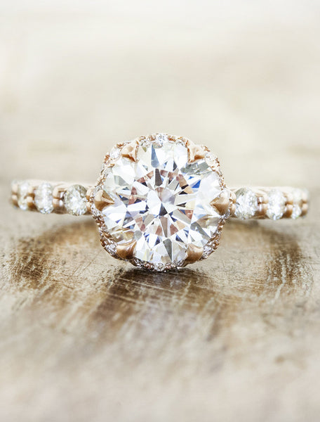 Vintage inspired engagement ring, caption:1.40ct. Round Diamond 14k Rose Gold