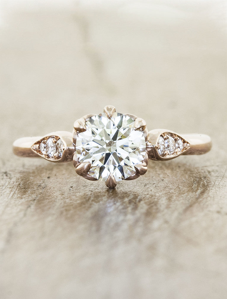 Vintage inspired;caption:0.90ct. Round Diamond 14k Rose Gold