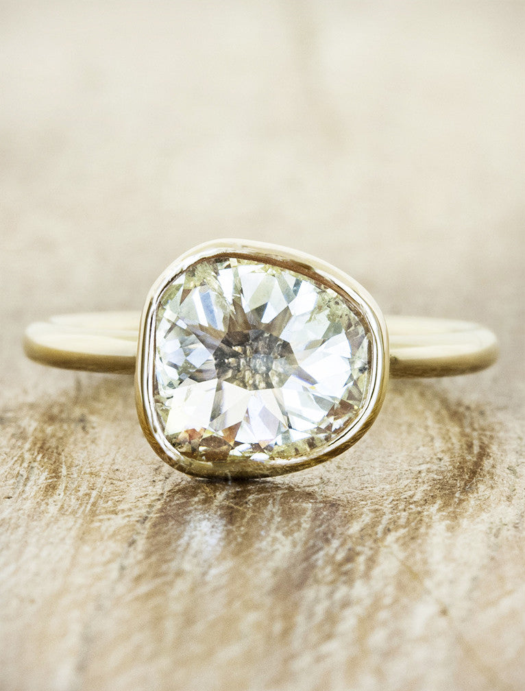 Rose Cut Diamond Bezel Engagement Ring
