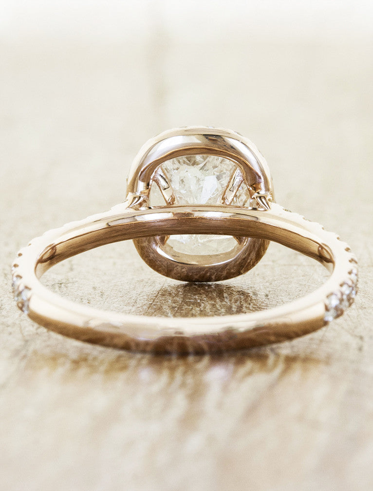 Rough Diamond Halo Engagement Ring