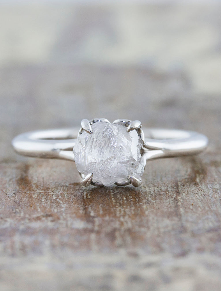 Rough Diamond Engagement Ring