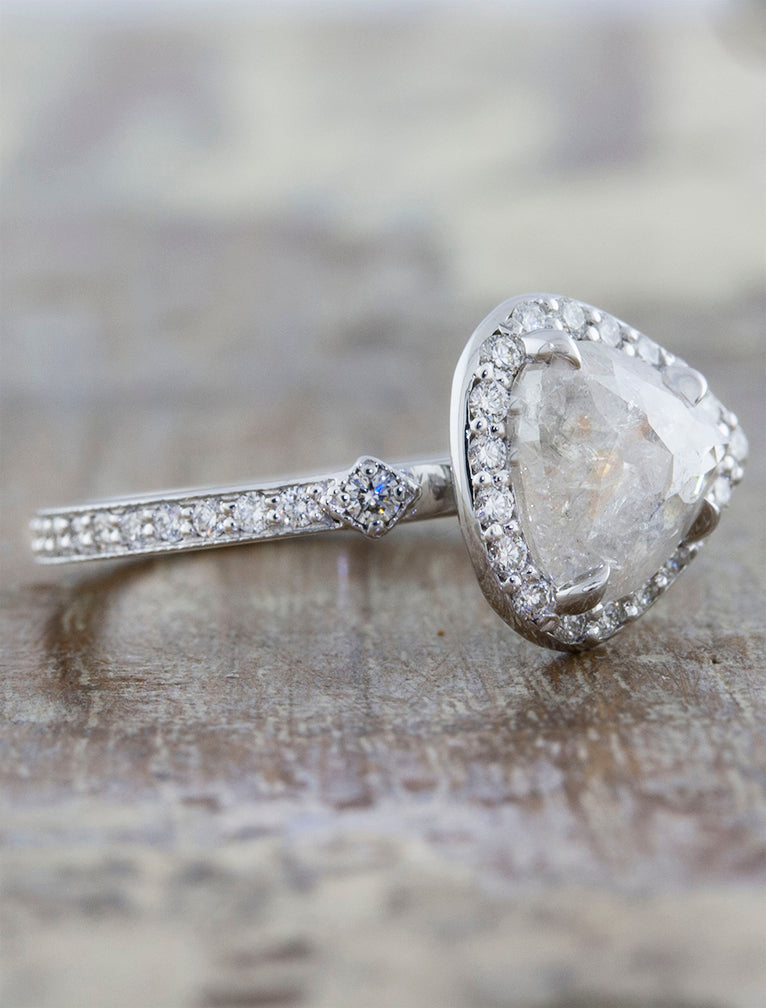 Pear Shaped Rough Diamond Halo Engagement Ring