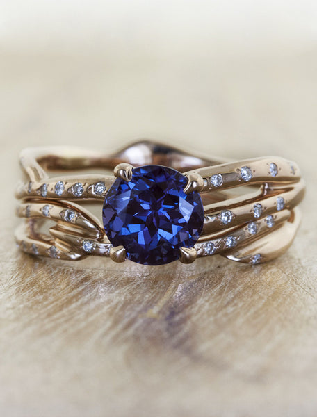 sculptural split shank round sapphire engagement ring, diamond accents rose gold band