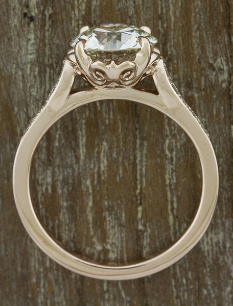 european cut round diamond, rose gold intricate setting engagement ring - basket view