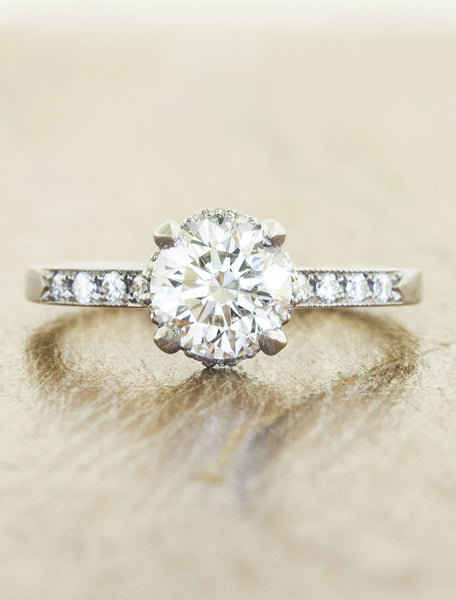 vintage inspired diamond ring with beaded trim;caption:1.10ct. Round Diamond Platinum