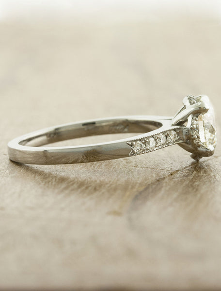 vintage inspired diamond ring with beaded trim - side view