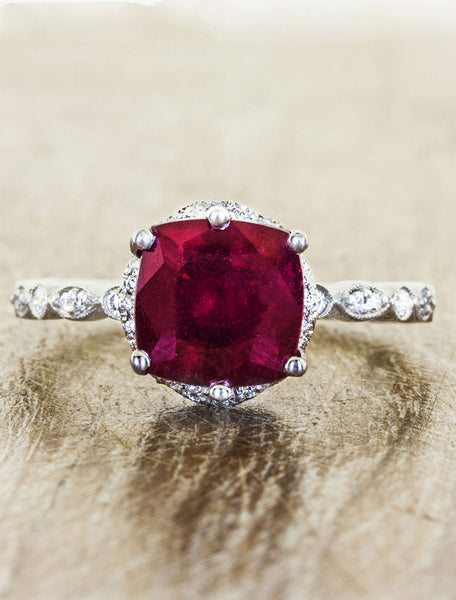vintage inspired ruby engagement ring, cushion cut