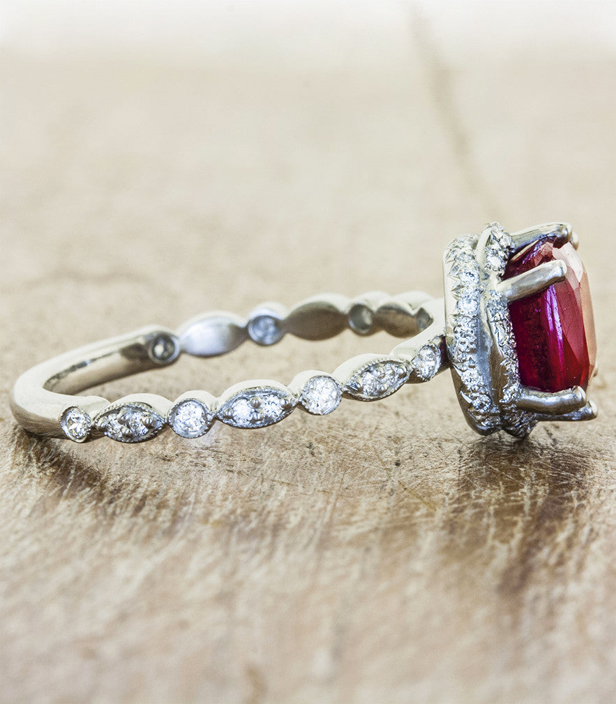 vintage inspired ruby engagement ring, cushion cut - view of band