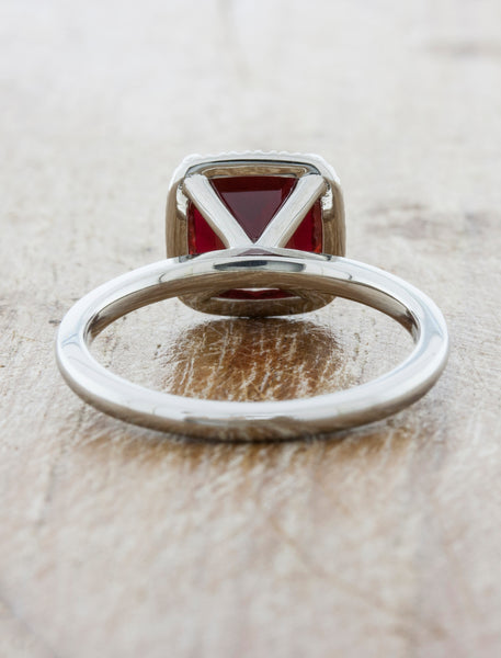 Unique Ruby Engagement Ring with Platinum Band