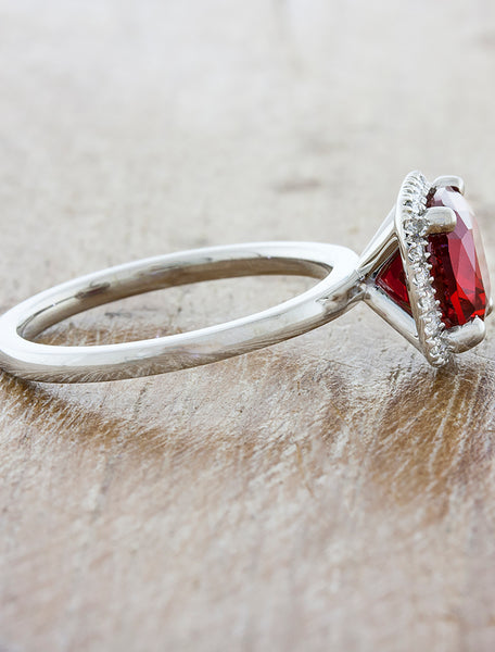 Cushion Cut Halo Ruby Engagement Ring in Platinum Band