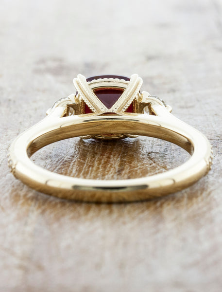 Three-Stone Ruby Ring with Pave - Intricate Basket