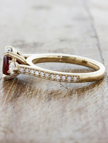 Three-Stone Cushion Cut Ruby Ring with Pave Band