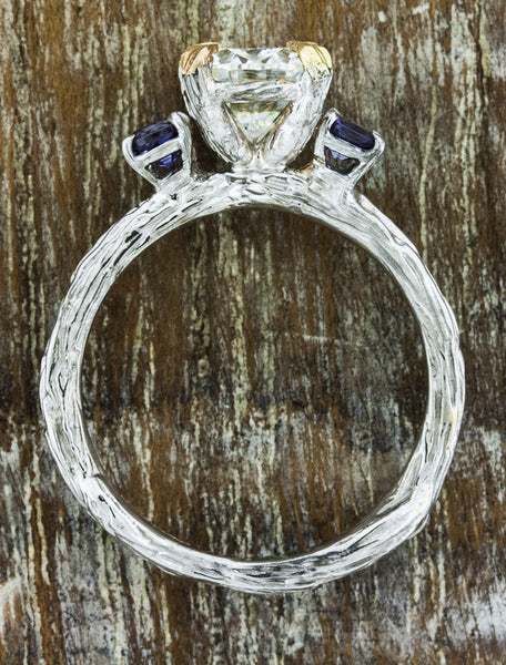 unique tree bark band, three stone engagement ring - diamond & alexandrite