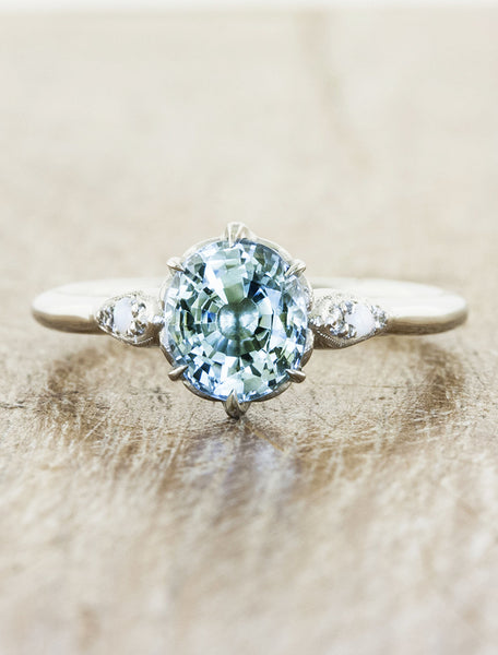 unique ocean blue gemstone engagement ring
