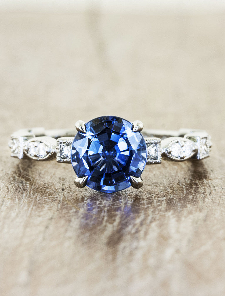 Vintage inspired designs;caption:1.50ct. Round Sapphire 14k White Gold