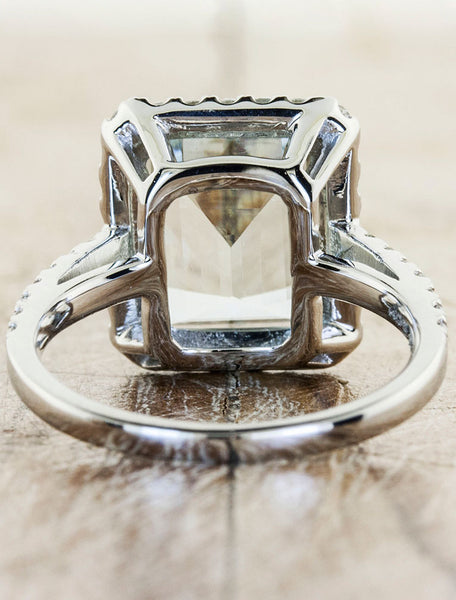 halo emerald cut aquamarine engagement ring, cathedral setting