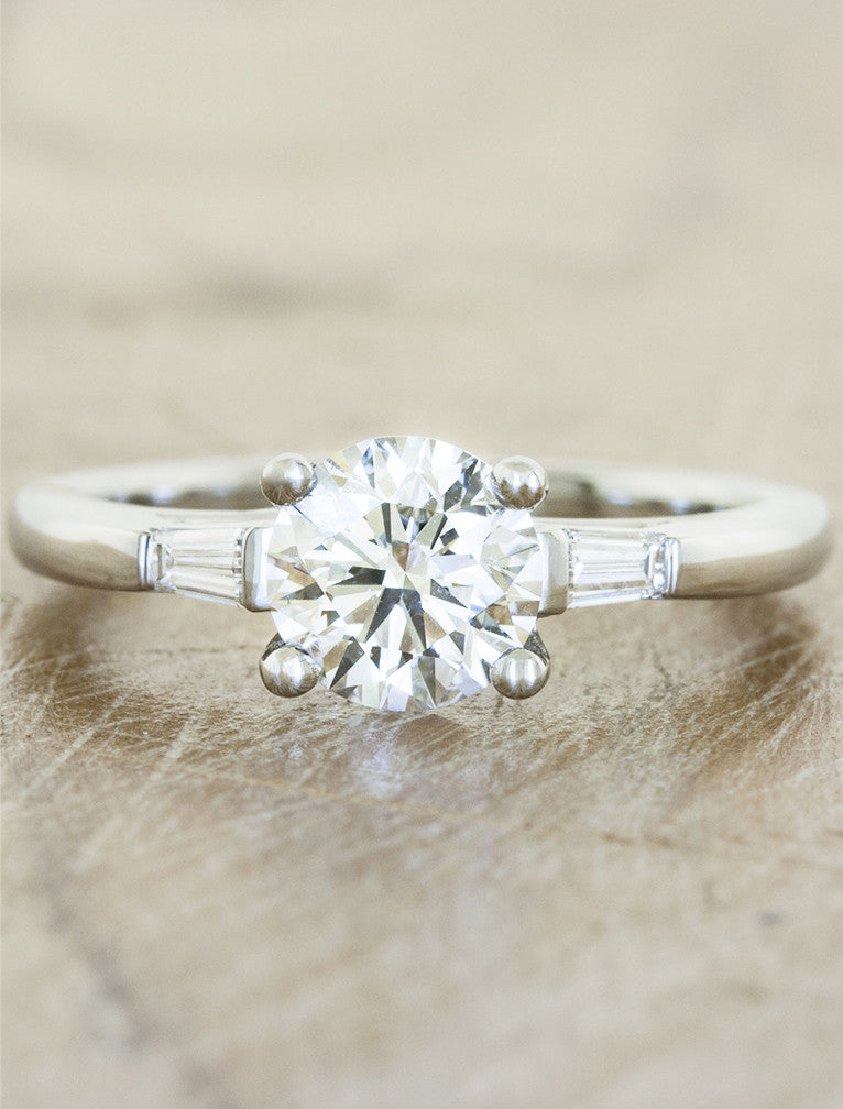 three stone diamond ring, baguette accents