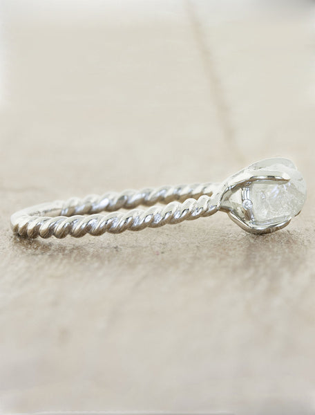 rough diamond rope band engagement ring