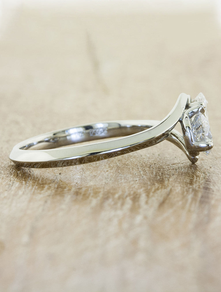 two stone diamond engagement ring, asymmetrical band