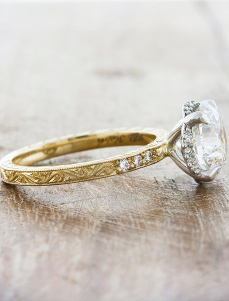 Belvin: Intricate Hand-Engraved Mixed Metal Diamond Ring | Ken & Dana