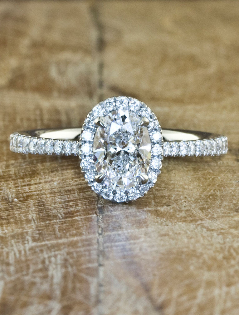 Custom Engagement Rings by Ken & Dana Design - Verity caption:1.00ct. Oval Diamond 14k White Gold
