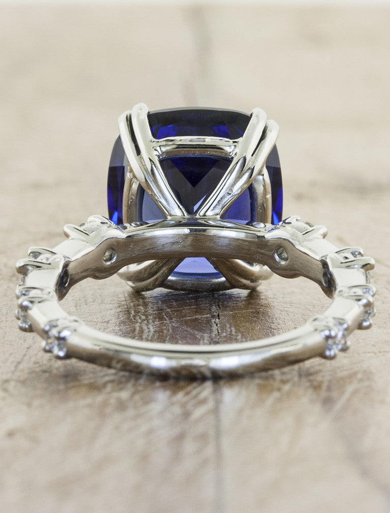 large sapphire engagement ring - setting view