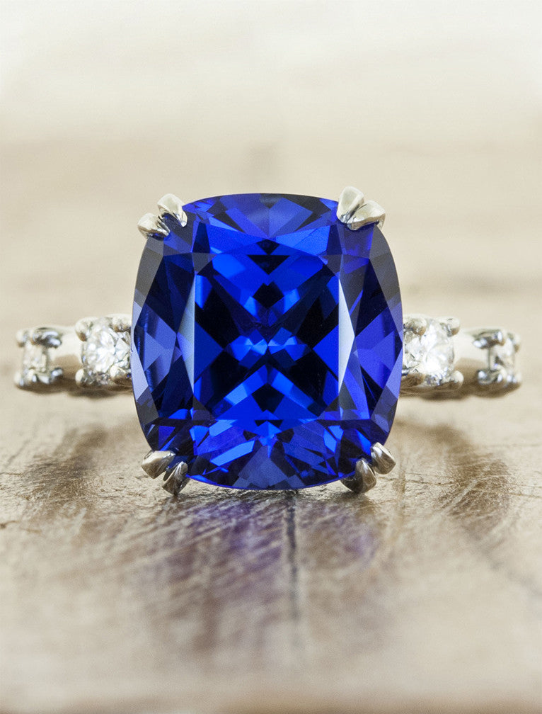 large cushion cut blue sapphire engagement ring