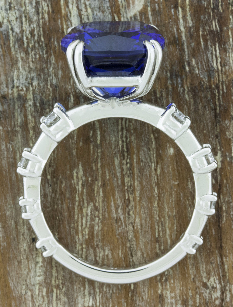 large sapphire engagement ring - band view