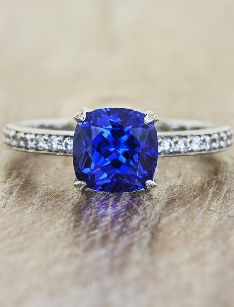 Classic solitaire pave band. caption:Customized with a 2.00ct. Cushion Cut Sapphire, platinum