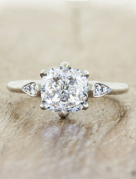 intricate setting, diamond engagement ring