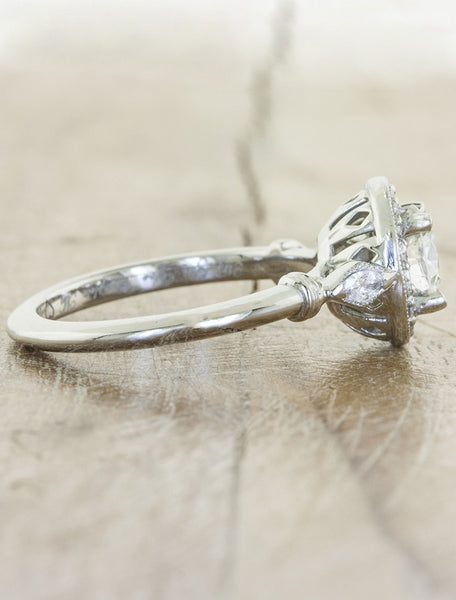halo diamond engagement ring, brushed platinum band
