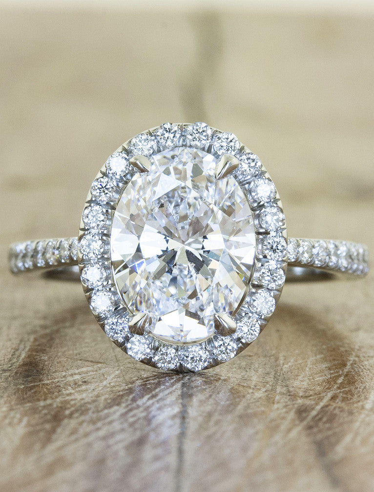 Verity halo engagement ring caption:2.01ct. Oval Diamond Platinum