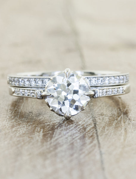 Vintage inspired collection caption: 0.86ct. Round Diamond Platinum paired with Hammie Wedding Band