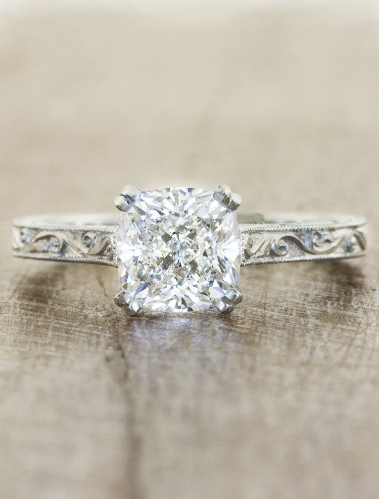 vintage inspired cushion cut diamond solitaire ring