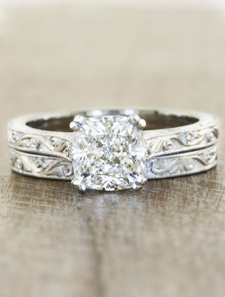 vintage inspired cushion cut diamond solitaire ring - matching band