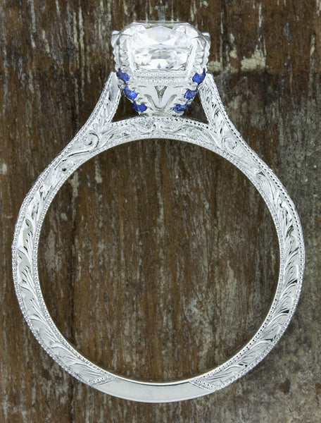 vintage inspired cushion cut diamond solitaire ring - sapphire accents