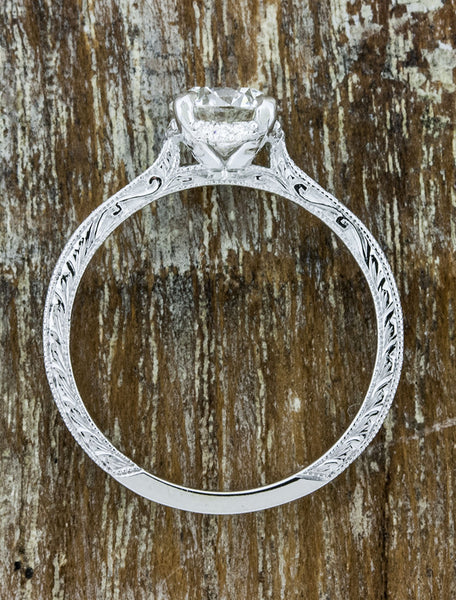 conflict free diamond in engraved band